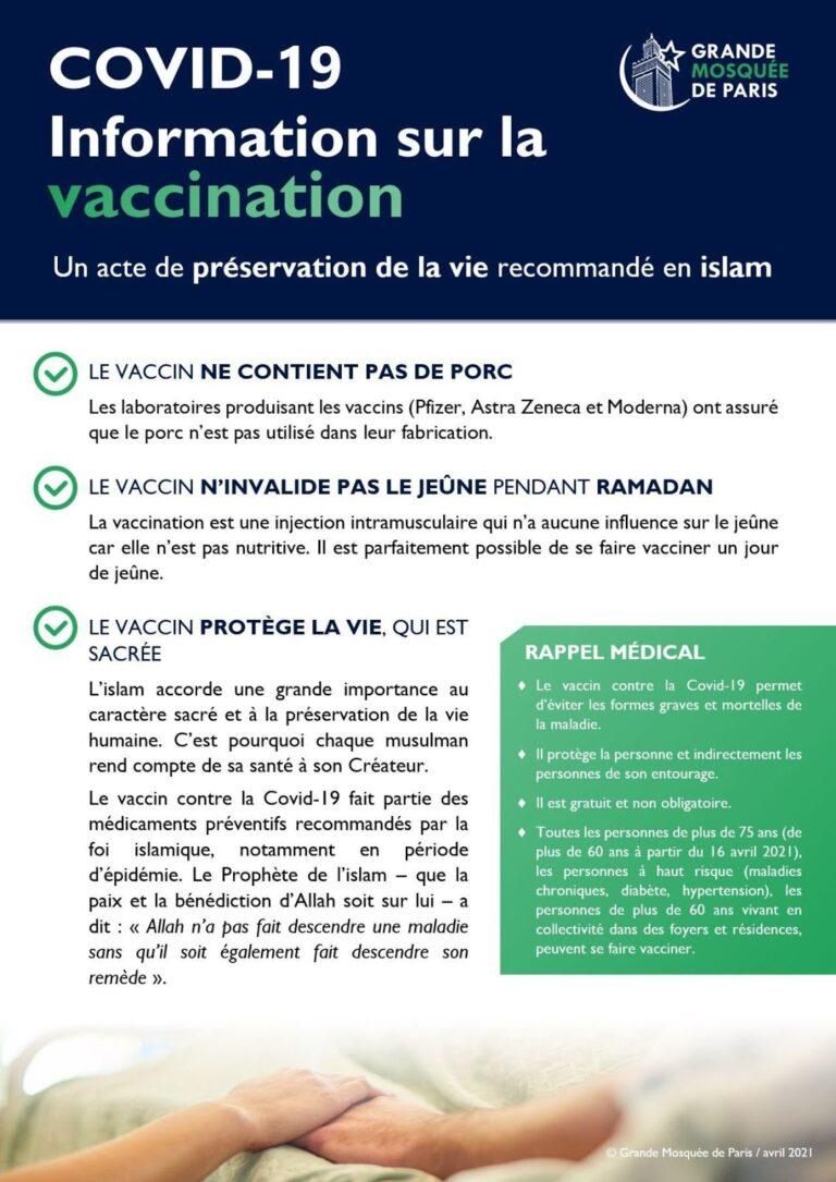 Vaccination COVID19 et Ramadan